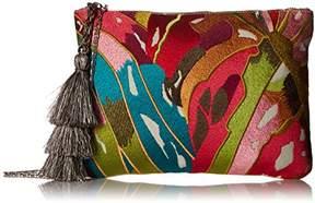 Steve Madden Malibu Embroidered Colored Bohemian Geometric Fabric Pouch Crossbody