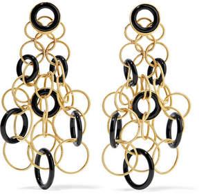 Buccellati Hawaii 18-karat Gold Onyx Earrings