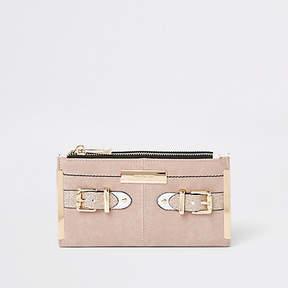 River Island Beige foldout buckle glitter purse