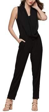 Bar III Sleeveless Draped Jumpsuit.