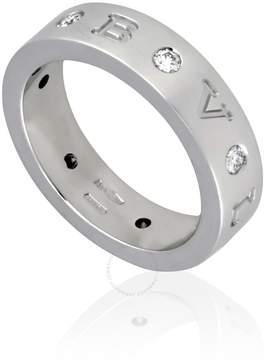 Bvlgari 18K White Gold Diamond-Set Band Ring Size: 54