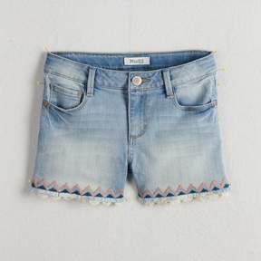 Mudd Girls 7-16 & Plus Size Embroidered Trim & Frayed Hem Denim Shorts
