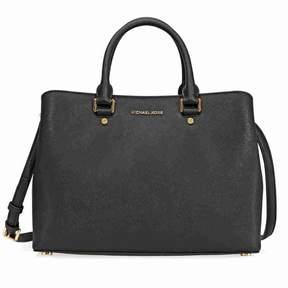 Michael Kors Savannah Saffiano Leather Satcel- - Black - BLACKS - STYLE