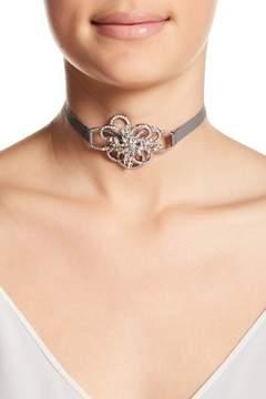 Jenny Packham Pave Crystal Flower Choker Necklace