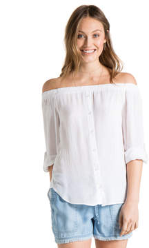 Bella Dahl Off Shoulder Button Down-White-XS