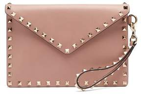 Valentino Rockstud Leather Envelope Clutch - Womens - Nude