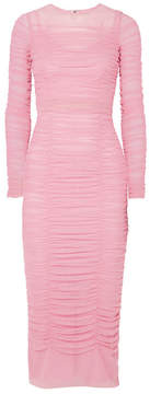 Dolce & Gabbana Ruched Stretch-tulle Midi Dress - Pink