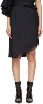 Facetasm Navy Pinstripe Frayed Skirt