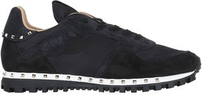 Valentino Studded Suede & Nylon Sneakers