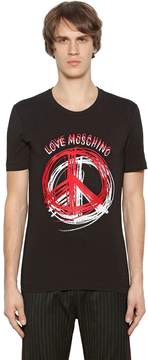 Love Moschino Peace Sign Print Stretch Jersey T-Shirt
