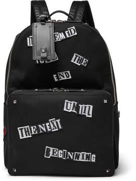 Valentino Appliquéd Canvas Backpack