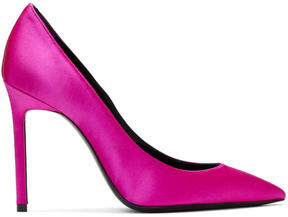 Saint Laurent Pink Satin Anja Heels