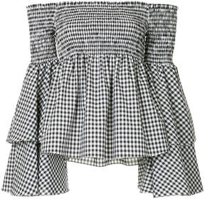 Caroline Constas plaid off the shoulder top