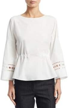Akris Punto Eyelet Cotton Bell-Sleeve Blouse