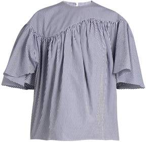 Awake Striped wing-sleeved cotton-poplin top