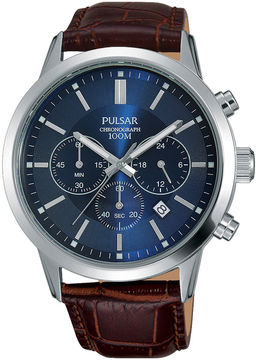 Pulsar Mens Brown Leather Strap Blue Dial Chronograph Watch