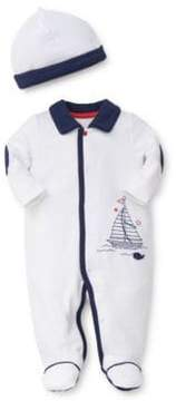 Little Me Baby's Two-Piece Collared Sailboat Sleeper Set