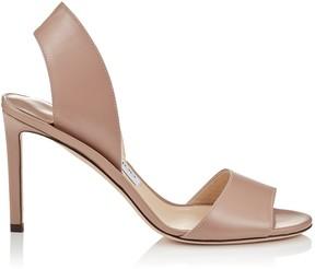 Jimmy Choo SHEILA 85 Ballet Pink Liquid Leather Mules