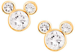 Disney Diamonique Mickey Mouse Stud Earrings, 14K Gold