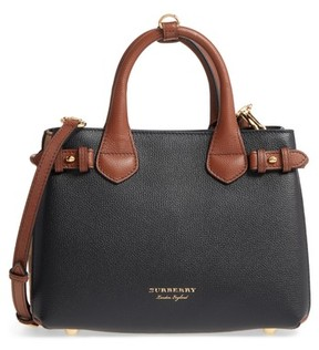Burberry Small Banner House Check Leather Derby Tote - Black - BLACK - STYLE