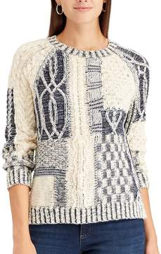 Chaps Women's Patchwork Crewneck Sweater