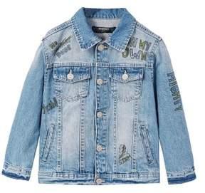 MANGO Printed medium denim jacket