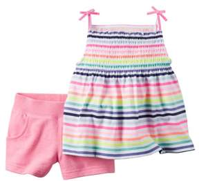 Carter's Baby Clothing Outfit Girls 2-Piece Stripe Top & Pink Short Set