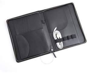 Royce Leather Royce Black Zippered Tech Case Organizer in Pebbled Leather