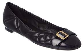 Burberry Buckle Detail Check Quilted Leather Ballet Flat.