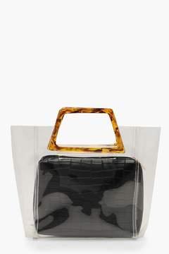 boohoo Tortoiseshell Resin Handle Clear Bag