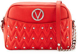 Mario Valentino Valentino By Leather Quilted Stud Shoulder Bag