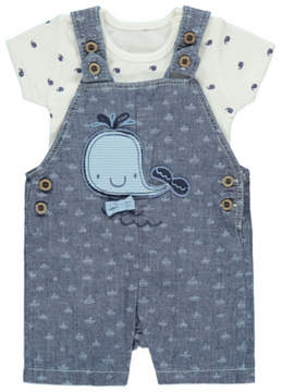 Whale Dungarees and Bodysuit Outfit