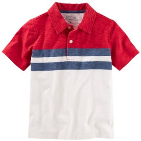 Osh Kosh Boys 4-8 Short Sleeve Striped Slubbed Polo Shirt