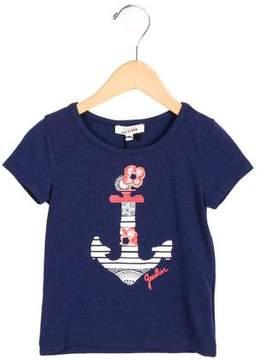 Junior Gaultier Girls' Anchor Print Short Sleeve Top w/ Tags
