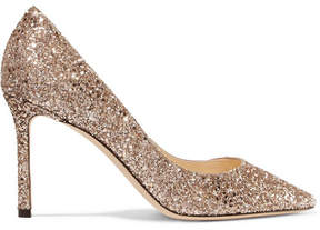 Jimmy Choo Romy 85 Glittered Leather Pumps - Gold