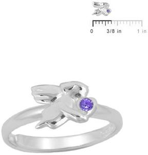 Ice Silver February Birthstone Angel Adjustable RIng for Girls (Size 3 to 7)