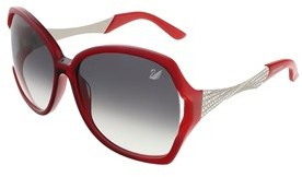 Swarovski Sk0065/s 66b Transparent Red/shaded Opal Red Square Sunglasses.
