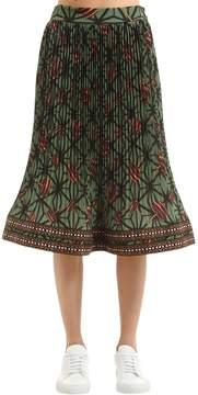 Stella Jean Printed Pleated Techno Georgette Skirt