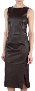 Akris Sleeveless Napa Leather Sheath Dress, Brown