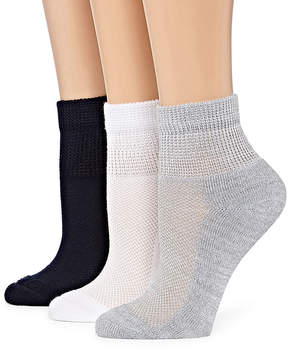 Asstd National Brand Diabetic 3 Pair Crew Socks - Womens