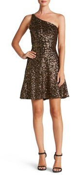 Dress the Population Women's Tina One-Shoulder Sequin Fit & Flare Dress