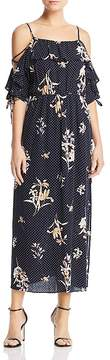 Aqua Polka Dot Cold-Shoulder Maxi Dress - 100% Exclusive