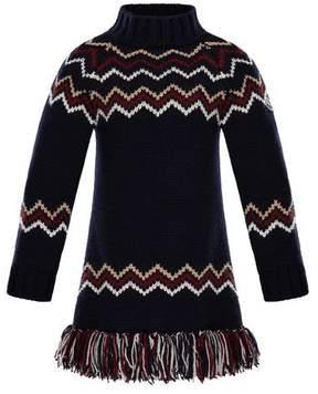 Moncler Abito Tricot Wool-Cashmere Knit Dress, Size 4-6