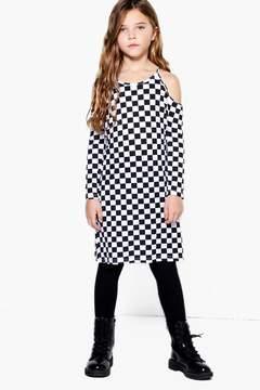 boohoo Girls Checkerboard Cold Shoulder Dress