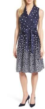 Anne Klein Scattered Dot Notch Collar Dress