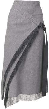 Dion Lee fringe trim wrap front skirt
