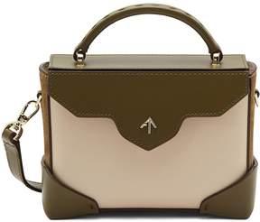 Beige and Khaki 'Bold Combo' micro colourblock suede panel leather crossbody bag