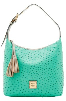 Dooney & Bourke Ostrich Paige Sac Shoulder Bag. - MINT LIGHT GREY - STYLE
