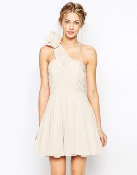 TFNC Prom One Shoulder Dress With Corsage Detail