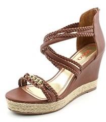 XOXO Flora Women Open Toe Synthetic Brown Wedge Sandal.